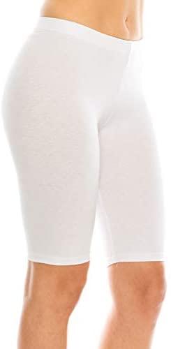 CNC STYLE Women's Cotton Stretch Layering Yoga Bermuda Biker Shorts Tights Pants Leggings Teamwear Under Skirts: Clothing