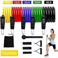 Resistance Bands Set Suitable for Man and Woman Exercise Band 10-100 pounds can be Stacked or Used Separately Improve Fitness(12PACK) : Sports & Outdoors