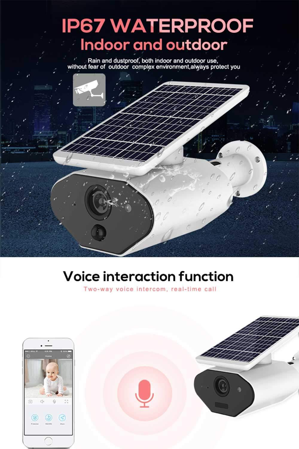 1080p HD Wireless Rechargeable Battery-Powered Security Camera for Outdoor Home Surveillance,