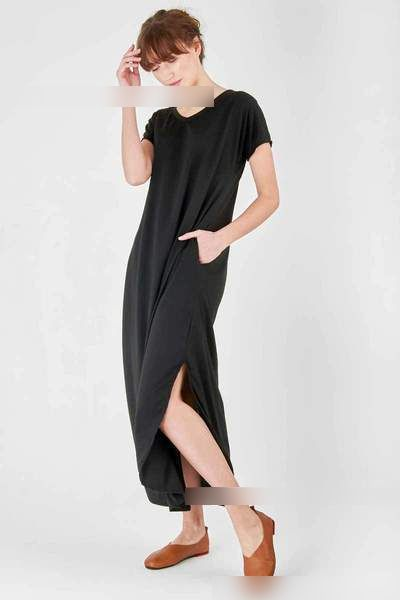 Women's Short Sleeve  Loose Long Dress with Pockets