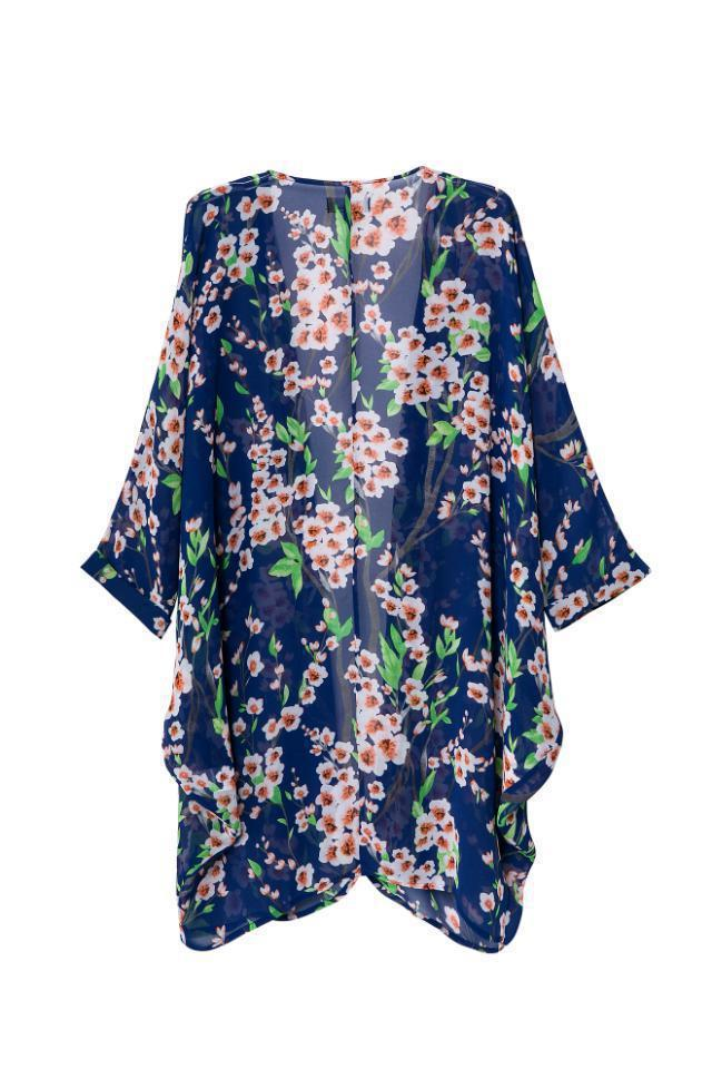Women's Floral Print Sheer Chiffon Loose Cardigan