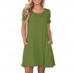 Women's Summer Short Sleeve Swing Dress with Pockets
