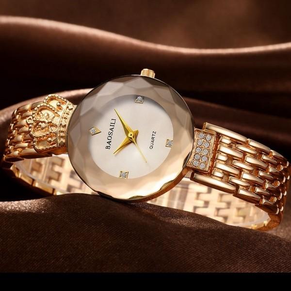 Ladies Quartz Retro Rose Gold Crown Watch