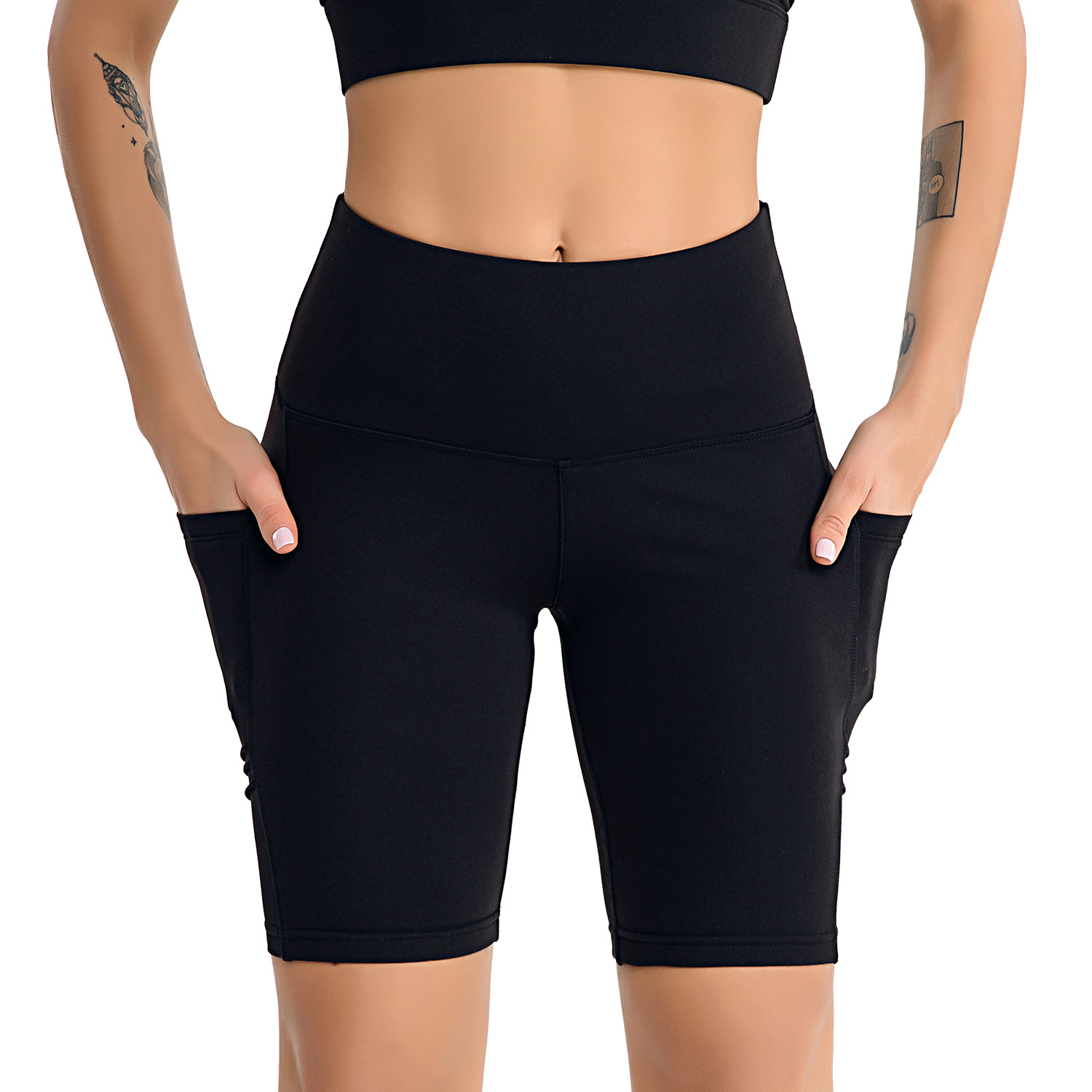 Women's High Waist Workout Yoga Running Compression Shorts with Side Pockets