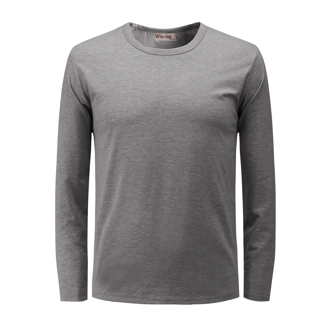 Long Sleeve Round Neck Solid Color Men's Blank T-shirt  Win-ing Elastic Combing Lycra Cotton