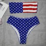 2019 Swimsuit Europe And America Swimsuit Printing Flag Sexy Tube Top Bikini Ladies Swimwear