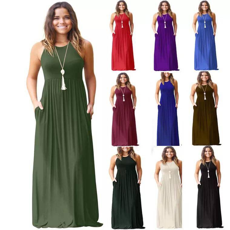 Women's Sleeveless Long Dress with Pockets