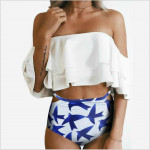 Double Off Shoulder Ruffled Flounce Crop Top Swimwear