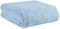 GLAMBURG 100% Cotton Bed Blanket, Breathable Bed Blanket Queen Size, Cotton Thermal Blankets Full - Queen Size, Perfect for Layering Any Bed for All Season - Sky Blue: Home & Kitchen