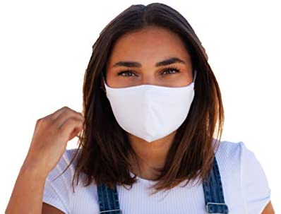 Jersey Cotton Cloth Face Mask 5- Pack - 100% 2-Layer Cotton -Universal Adult Size Soft Facemask Mouth and Nose Cover (White): Health & Personal Care