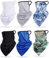 SATINIOR 6 Pieces Bandana Ear Loops Triangle Face Cover Scarf UV Protection Neck Gaiter Bandana Headwear (Complex Floral Pattern Style) : Clothing