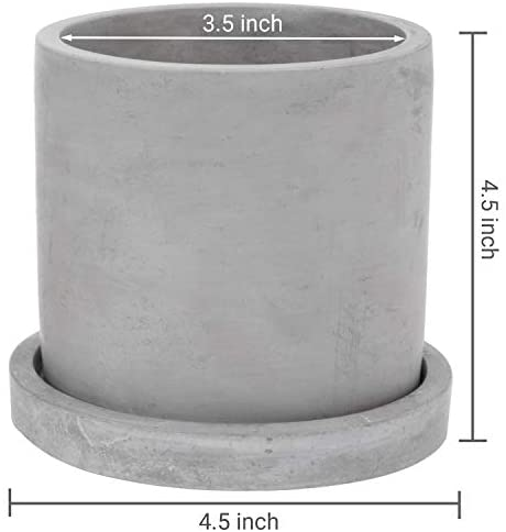 MyGift 4-inch Modern Gray Cement Planter Pots with Saucer & Mini White Pebble Vase Fillers, Set of 2: Home & Kitchen