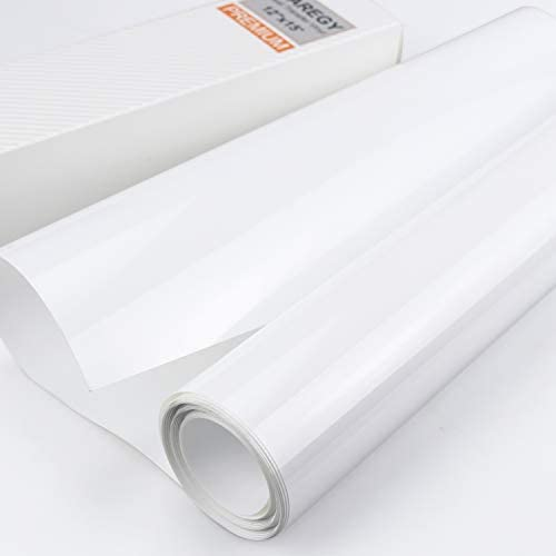 HTV Iron on Vinyl 12 inch x15 Feet Roll by CAREGY Easy to Cut & Weed Iron on Heat Transfer Vinyl DIY Heat Press Design for T-Shirts Glossy White