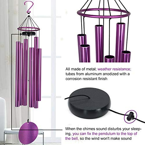 Memorial Wind Chimes Outdoor Large Deep Tone, 36 Inch Wind Chimes Unique Tuned Relaxing Soothing Melody, Sympathy WindChimes for Mom, Dad,Garden, Yard, Patio, Porch,Home Decoration and Gift, (Purple) : Garden & Outdoor