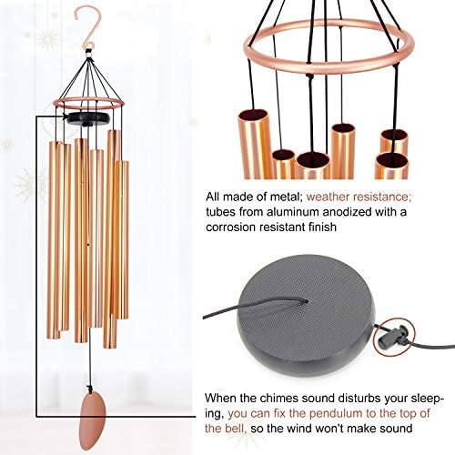 ASTARIN Memorial Wind Chimes Outdoor Large Deep Tone, 36 Inch Sympathy Wind Chimes Tuned Soothing Melody as Gift, Outdoor Decoration for Your Garden, Patio, Porch, Yard, Home, Deck, Rose Gold : Garden & Outdoor