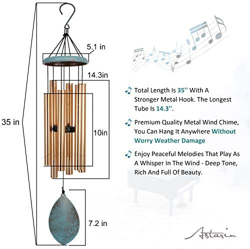 Wind Chimes Outdoor Deep Tone, 35'' Memorial WindChimes Melody with Tuned Soothing Tone, Remembrance Windchime Unique As Sympathy Gift, Home Décor for Garden, Christmas.(Retro Wind Catcher) : Garden & Outdoor