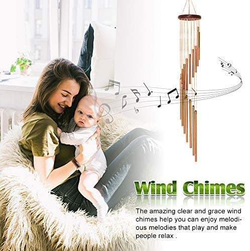 "econoLED Wind Chimes, Large Wind Chimes, Amazing Garden Outdoor Handmade Chimes 36"" with 18 Aluminum Alloy Musically Tubes & S Hooks for Garden, Patio, Porch or Backyard Xmas Decor : Garden & Outdoor"