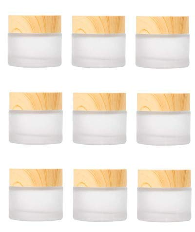 Healthcom 10 Pack 15ml/15g Empty Jars Frosted Glass Cream Jar Bottle with Wood Grain Lid Makeup Cosmetic Containers Refillable Glass Jar Pot for Lotion Face Cosmetic Eye Cream : Beauty