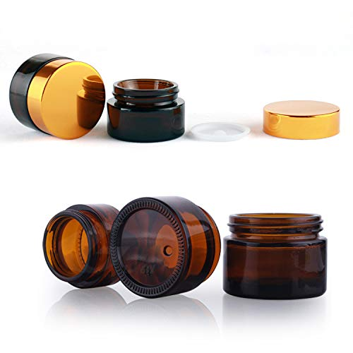 6 Pack 1 oz Glass Jars with Lid, Empty Amber Glass Bottle, Refillable Cosmetic Vials for Face Cream, Salve, Lotion, Ointment : Beauty