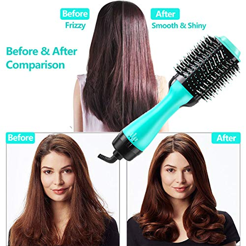 One step hair dryer and styler 4-in-1 multifunctional Hot air brush straightener-curl-comb-dryer, One step hair dryer and volumizer brush Feature Anti-scald Reduce Frizz & Static Styling (Green) : Beauty