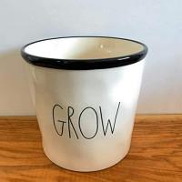 "Rae Dunn GROW Planter - 6"" x 6"" - ceramic - very rare!: Kitchen & Dining"