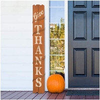 """Glitzhome 42"""" H Thanksgiving Wooden Pumpkin Porch Sign Vertical Hanging Sign Give Thanks Porch Décor for Fall Harvest Thanksgiving Autumn Indoor Outdoor Decorations: Home & Kitchen"""