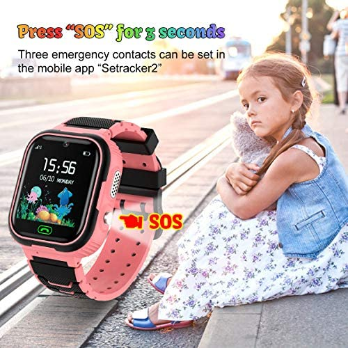 Kids Smart Watch Phone, LBS/GPS Tracker Waterproof Smartwatch for Boys Girls Children SOS Touch Screen Camera Two-Way Call for 3-12 Years Old (Pink): Electronics
