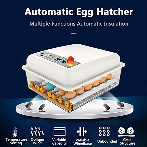 JAEDO 3 in 1 Intelligent Warming Egg Incubators Poultry Hatcher with Automatic Egg Turning and Temperature Humidity Control for Chickens Ducks Goose Others, Built-in Egg Candler(18eggs): Industrial & Scientific