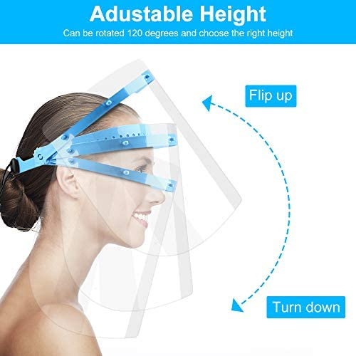 Face Shield Protection- Safety Face Shield for Women Men Anti-Fog Face Mask Shield with Clear Visor Lightweight Transparent Plastic Face Shield to Protect Eyes and Face(1Frame+ 5 Plastic Films)