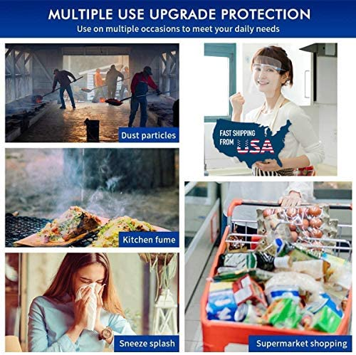 Safety Face Shield 10 Pcs Transparent Goggle Shield Reusable Face Visor Face Protect Splash Anti-Fog Layer