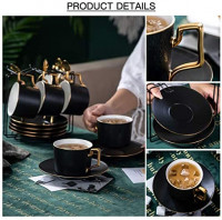 Yelife 19PCS Matte Porcelain Coffee Cups with Saucers Spoon, Tea Cups and Saucers Set, Black Color Porcelain Tea Set, Coffee Cups Set of 6: Cup & Saucer Sets