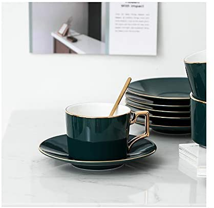 19-Piece Porcelain Ceramic Coffee Tea Gift Sets, Cups & Saucer Service for 6, Tea Set Holder Stand and 6 Teaspoons: Tea Sets