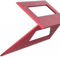 Aluminum Alloy Saddle Layout Square Gauge with 2 Pencils, Multifunctional 45/90 Degree Angle T Ruler 3D Mitre Angle Woodworking Measuring Tools