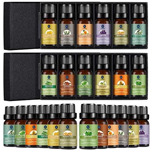 Lagunamoon Essential Oils Set, Aromatherapy Oils Set Includes Lavender, Tea Tree, Peppermint, Lemongrass, Orange, Rosemary, Frankincense, Lemon, Rosemary, Cinnamon, and Ylang-Ylang - Pack of 12, 10ml: Health & Personal Care
