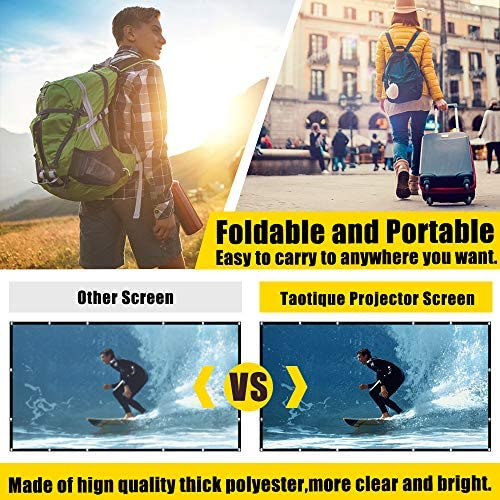 Projector Screen 120 inch, Taotique 4K Movie Projector Screen 16:9 HD Foldable and Portable Anti-Crease Indoor Outdoor Projection Double Sided Video Projector Screen for Home, Party, Office, Classroom: Home Audio & Theater