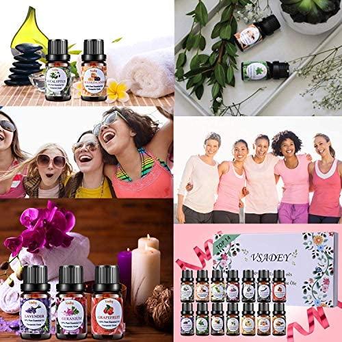 VSADEY Essential Oils Set 100% Pure Therapeutic Grade Organic Aromatherapy Oils Kit for Diffuser, Humidifier, Bath(14 x 5ml), Lavender, Tea Tree, Eucalyptus, Lemongrass, Sweet Orange, Ylang Ylang: Health & Personal Care