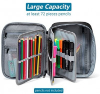 Large Pencil Case, VASCHY Art Color Pencils Pouch with 3 Detachable Layers Multiple Zip Pockets for School Office Stationary Organization Black : Office Products