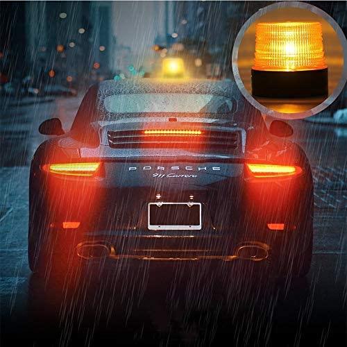 LED Strobe Light,12V/24 Amber Warning Lights,Emergency Flashing Beacon Light with Magnetic for Trucks Vehicles: Automotive