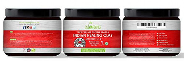 Indian Healing Clay Face Mask 16oz –100% Pure & Natural Bentonite Clay-Therapeutic Grade - Face Skin Care, Deep Skin Pore Cleansing, Detoxifying- Helps with Acne & Rejuvenating Skin- Made in USA : Beauty