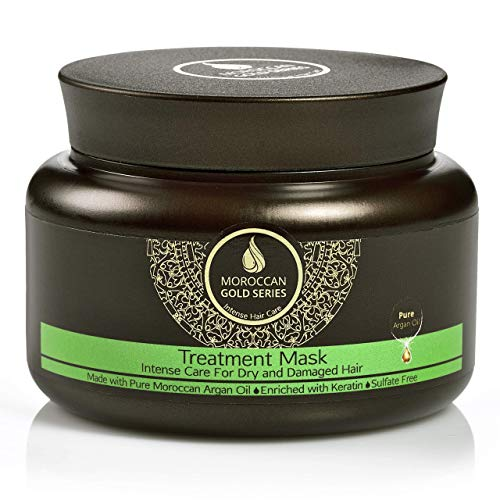Moroccan Gold Series Treatment Mask – Deep Hydrating Argan Oil Hair Mask for Dry, Damaged, Color Treated and Curly Hair Enriched with Keratin – Sulfate Free Natural Hair Repair Treatment, 8.45oz: Beauty