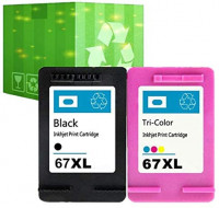 J2INK Remanufactured Ink Cartridge Replacement for HP 67XL 3YM57AN 3YM58AN Black Tri-Color 2 Pack Ink Cartridge DeskJet 1255 2732 2752 2755: Office Products