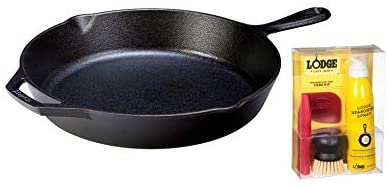 Product Name:Lodge Seasoned Cast Iron Skillet - 12 Inch Ergonomic Frying Pan with Care Kit for All Cast Iron Cookware: Kitchen & Dining
