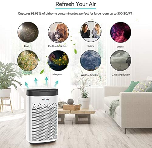 AIPER Air Purifier for Home with True HEPA Filter, Home Air Purifier for Smokers, Allergens, Pets, Pollen, Dust, Odors, Ideal for Large Room Up to 500sq/ft: Home & Kitchen