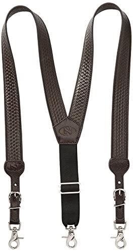 Nocona Belt Co. Men's Basic Basket Leather Suspender at Men's Clothing store