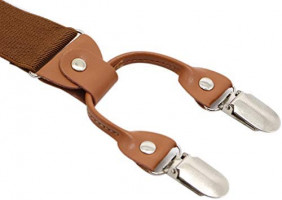 Men's Y-Back 4 Metal Clip Elastic Wide Suspenders Perfect For Both Casual&Formal (Coffe) at Men's Clothing store