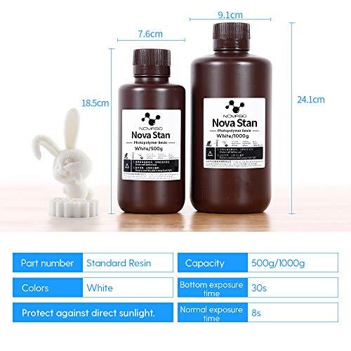 NOVA3D 3D Printer Resin, 405nm LCD Rapid Resin Standard Photopolymer Resin for LCD 3D Printing, White, 500ml: Industrial & Scientific