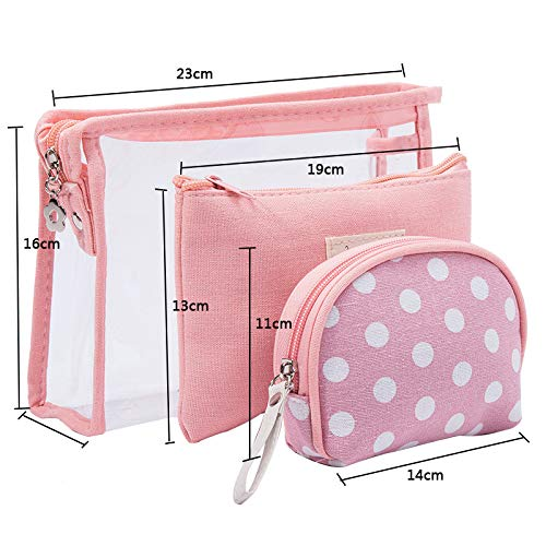 TFWell Cosmetic Bag, Makeup Pouch Bags for Women, Clear Toiletry Bag Organizer Waterproof Case for Holiday Beach Travel (Set of 3, Pink): Beauty
