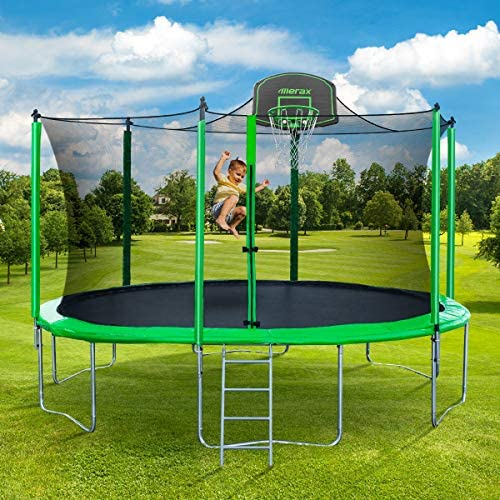 Merax 14FT 15FT Trampoline with Enclosure Kids Trampoline with Basketball Hoop, Ladder and Backboard Net (14FT-Green-Upgraded Version) : Sports & Outdoors