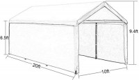 Abba Patio Extra Large Heavy Duty Carport with Removable Sidewalls Portable Garage Car Canopy Boat Shelter Tent for Party, Wedding, Garden Storage Shed 8 Legs, 10 x 20 Feet,Beige: Garden & Outdoor