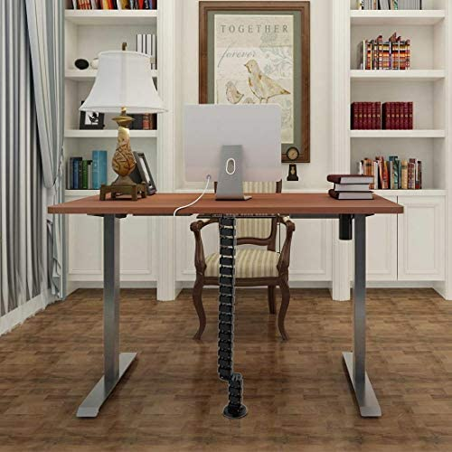 """Flexispot 55 x 28 Inches Electric Stand Up Desk Workstation, Whole-Piece Desk Board Home Office Computer Standing Table Height Adjustable Desk (Silver Frame + 55"""" Mahogany Top): Kitchen & Dining"""